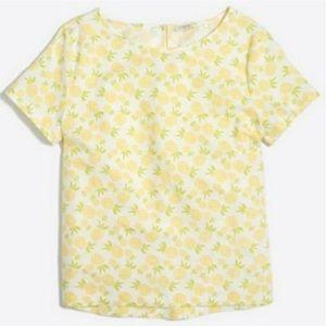 J Crew Pineapple Print Linen Cotton Top